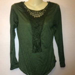 Embroidered army green long sleeve medium